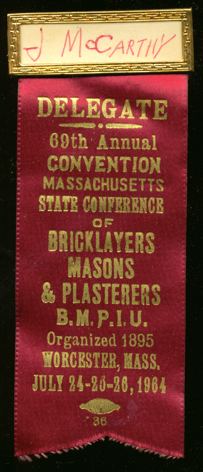 Massachusetts Bricklayers Convention Delegate pin 1964