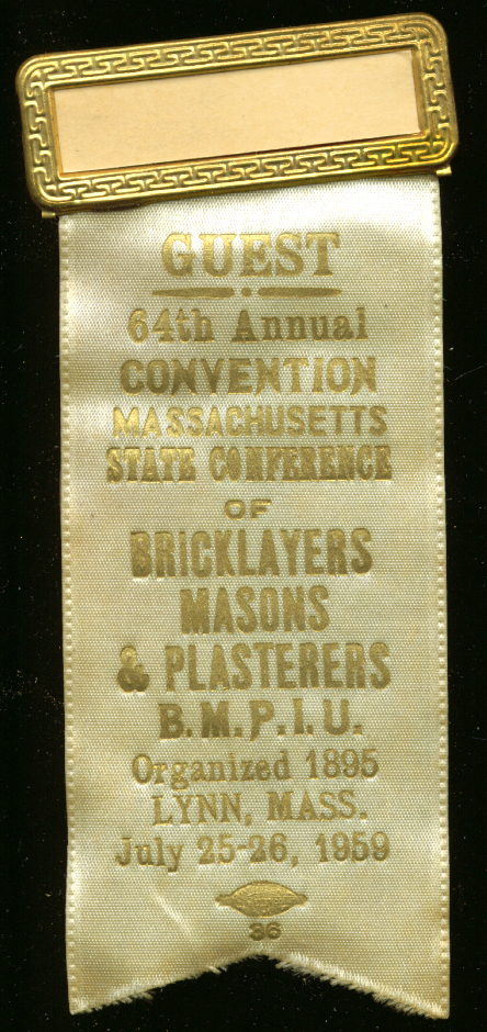 Massachusetts Bricklayers Convention Guest pin 1959