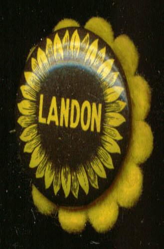 Alf Landon for President button with felt flower 1936