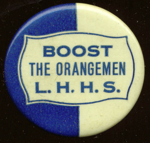 Boost the L H High School Orangemen pinback