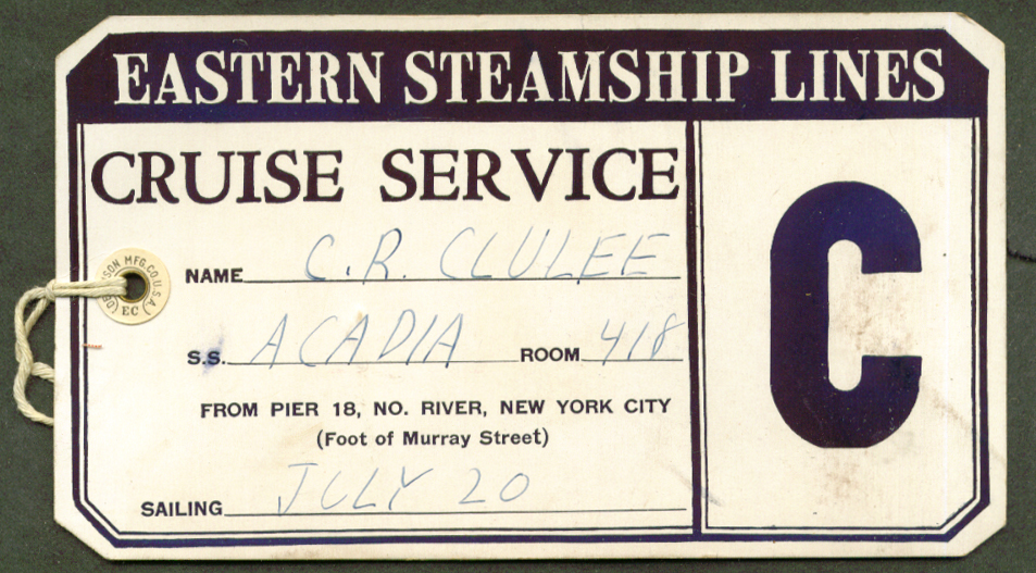 Eastern Steamship Lines A A Acadia Baggage tag 1940s