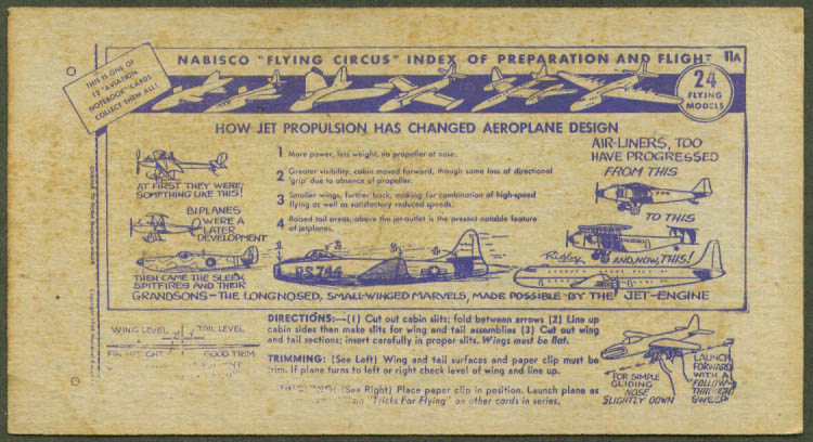 Nabisco Flying Circus Prep & Flight Index card 11A 1948