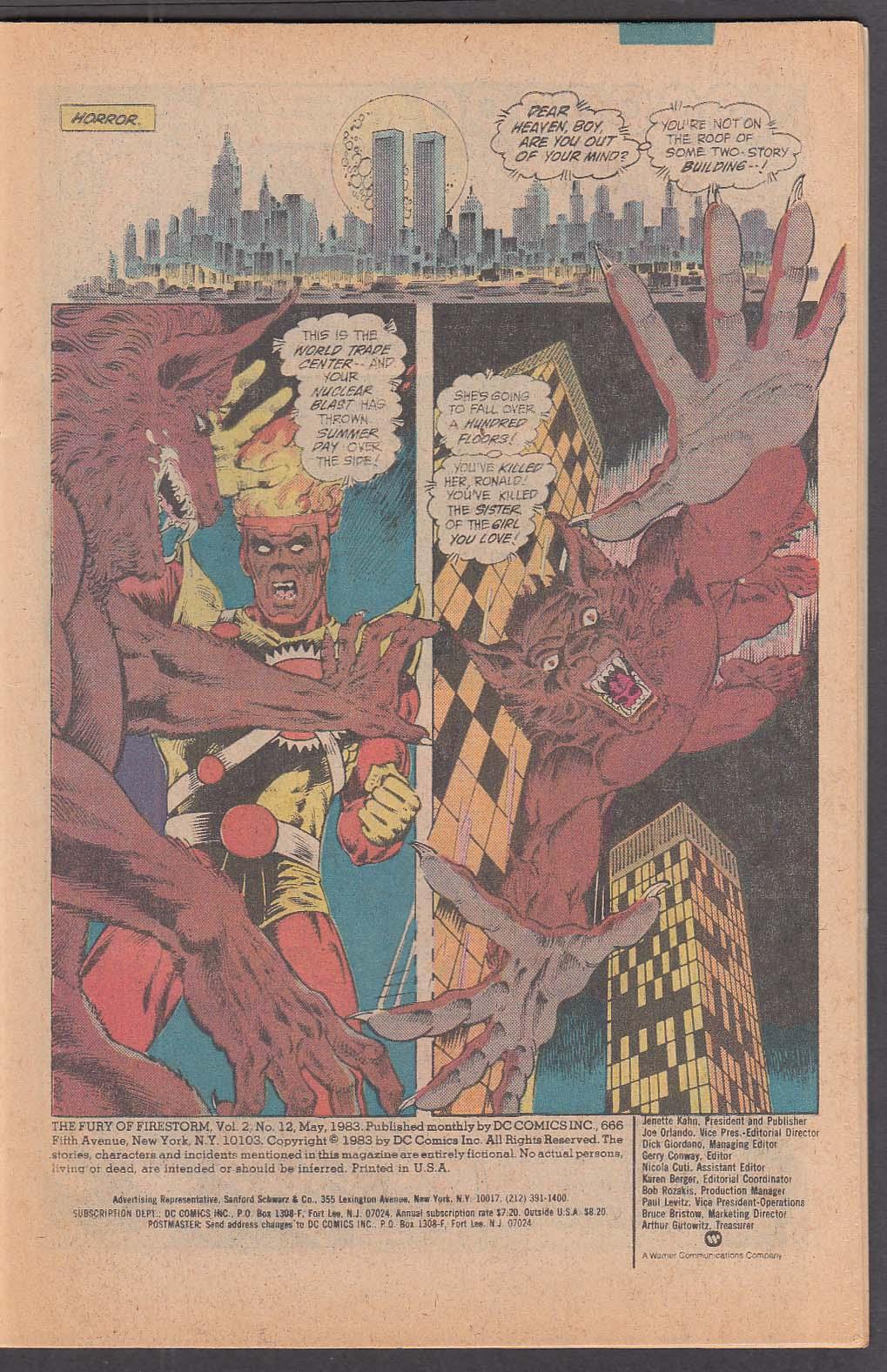 FURY of FIRESTORM #12 DC comic book 5 1983