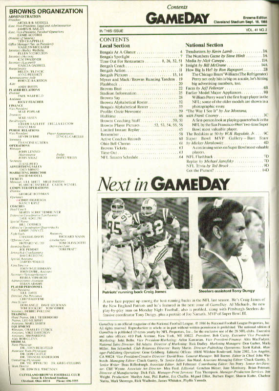 Cincinnati Bengals v Cleveland Browns GAMEDAY 1986