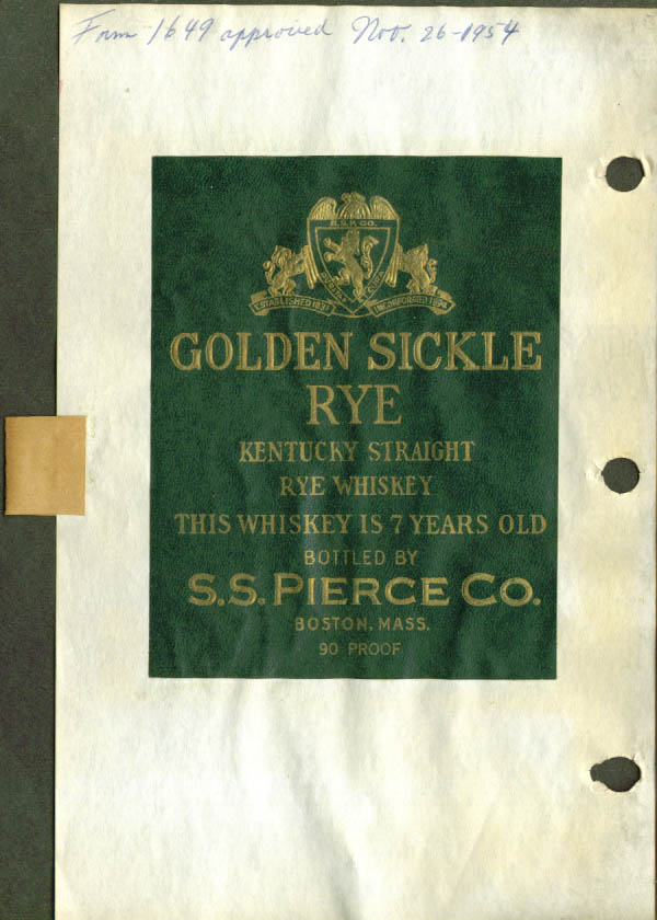 Golden Sickle Kentucky Rye label S S Pierce 1954