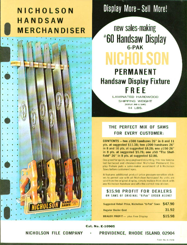 "Nicholson 60"" Handsaw Display sell sheet 1960s"