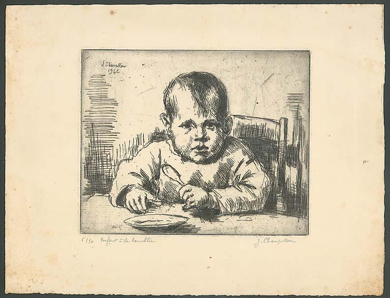 Enfant a la bouillie etching J Champillon 1943 SIGNED