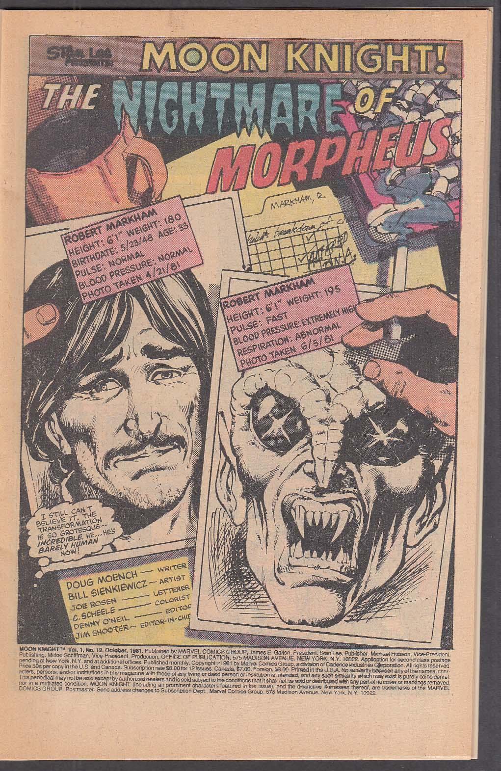 MOON KNIGHT #12 Marvel comic book 10 1981