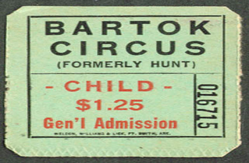 Bartok Circus Child Admission Ticket undated