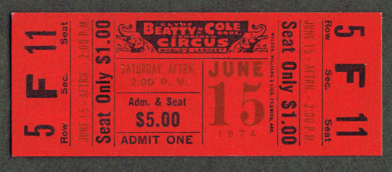 Image for Clyde Beatty Cole Bros Circus Ticket 1974