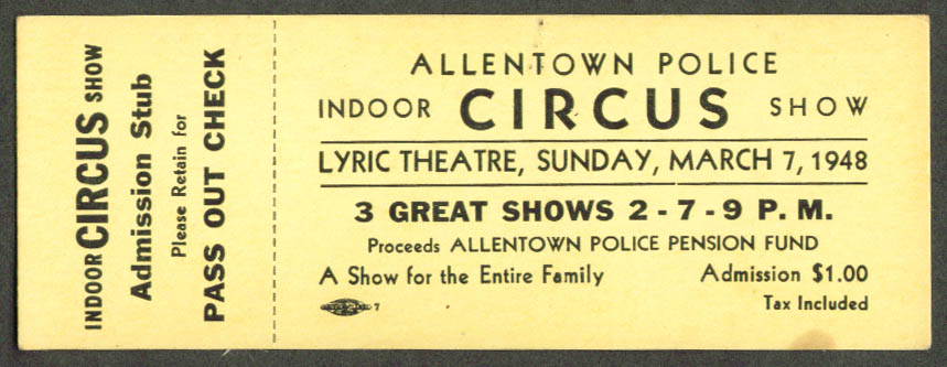Allentown Police Indoor Circus Ticket PA 1948