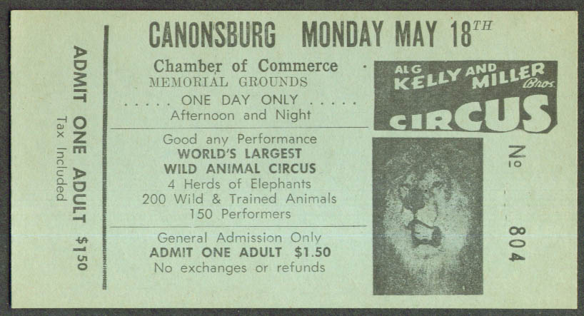 Al G Kelly & Miller Bros Circus ticket Canonsburg PA