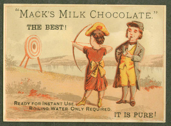 Image for Mack's Milk Chocolate archery trade card 1880s