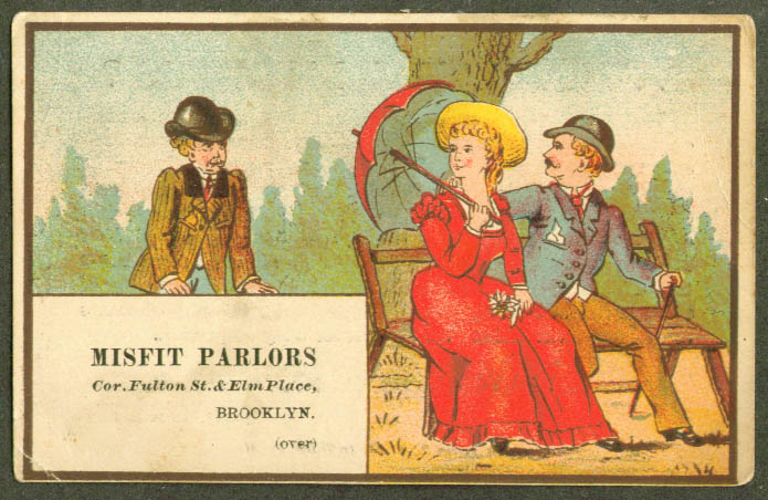 2 man & gal park Misfit Parlor Brooklyn NY trade card