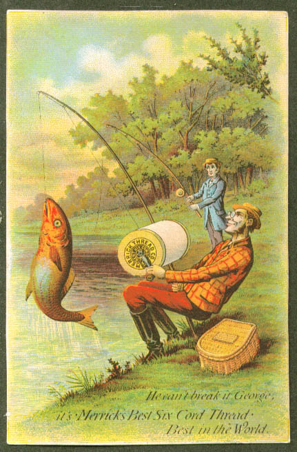 Image for Fishermen catch with Merrick's Thread trade card 1880s