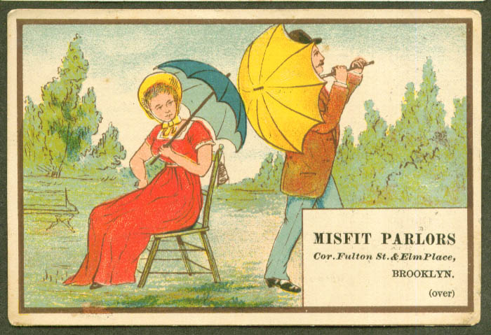 Image for Man & woman umbrellas Misfit Parlor Brooklyn trade card