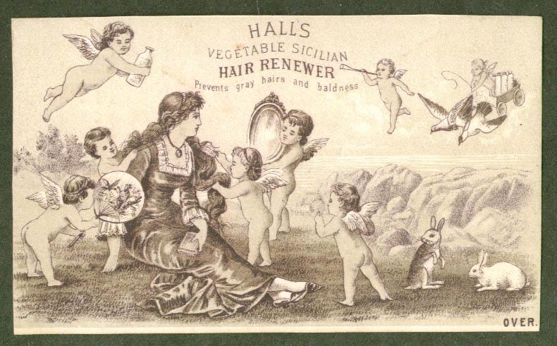 Cherubs & woman Hall's Hair Renewer trade card 1880s