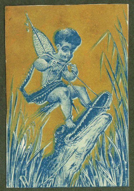 African boy rides crocodile trade card 1880s