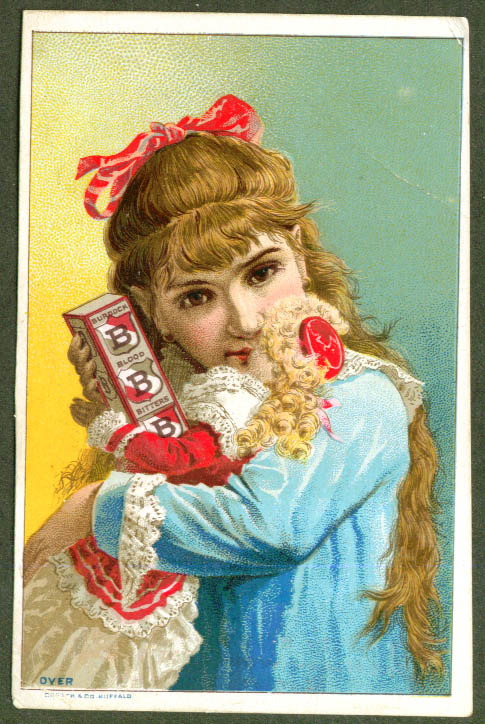 Image for Pretty girl Burdock Blood Bitters trade card 1880s