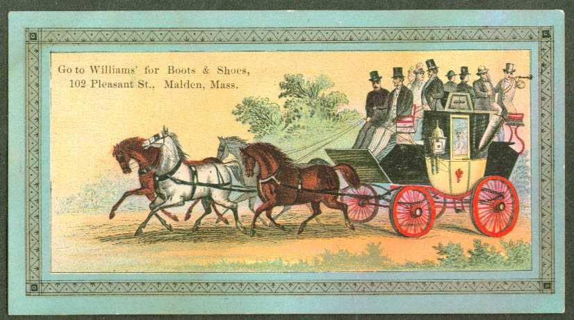 Full stagecoach Williams Shoes Malden MA trade card