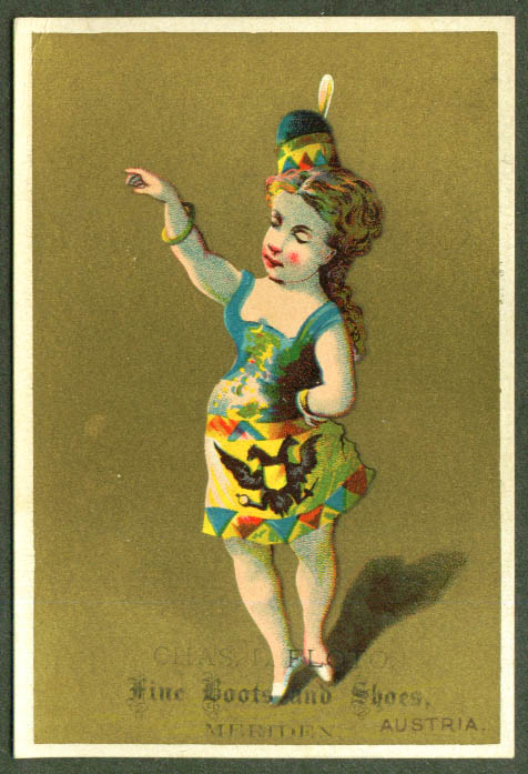 Image for Austria girl Chas L Floto Shoes Meriden CT trade card