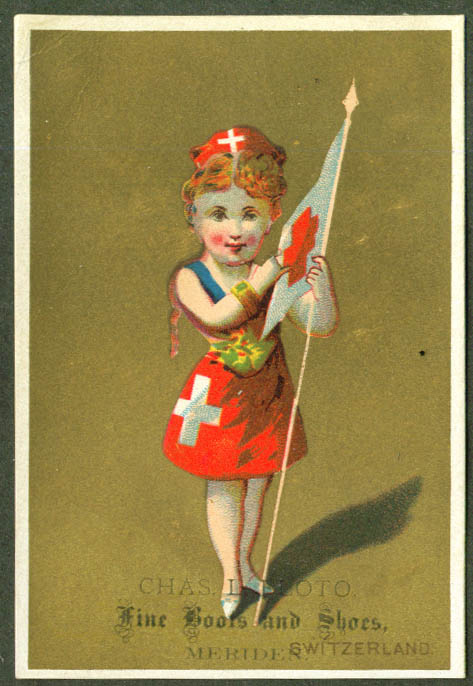 Image for Swiss girl Chas L Floto Shoes Meriden CT trade card