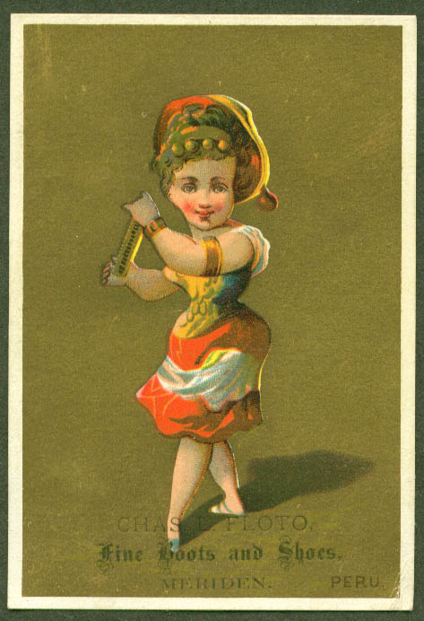 Image for Girl of Peru Chas L Floto Shoes Meriden CT trade card