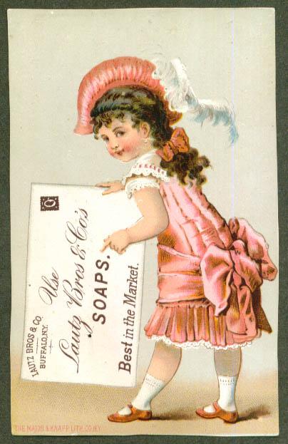 Girl fancy dress & letter Lautz Bros Soap trade card