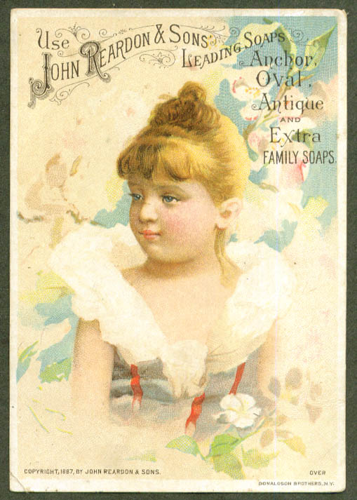 Blonde girl John Reardon Soap trade card Boston 1887