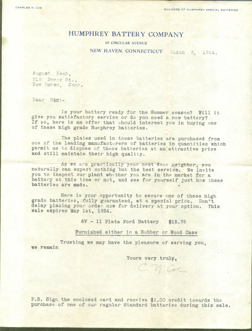 Humphrey Battery New Haven CT Ford offer letter 1924.