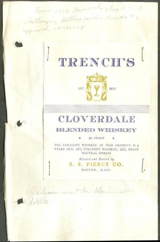 Trench's Cloverdale Blended Whiskey label 1953