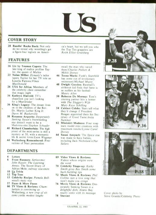 US Susan Anspach Richard Chamberlain Liz Taylor Hulk Hogan 4/22 1985