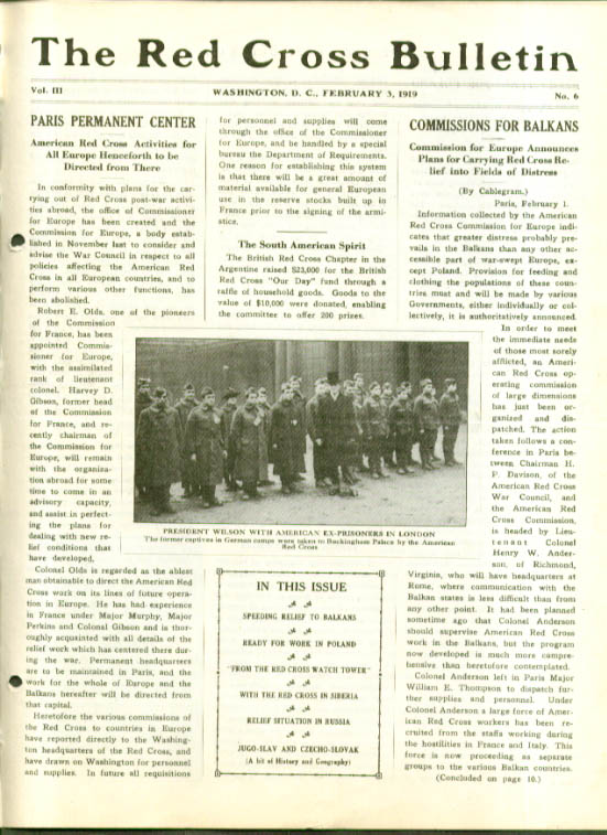 Pres Wilson & ex-POWs RED CROSS BULLETIN 2/3 1919