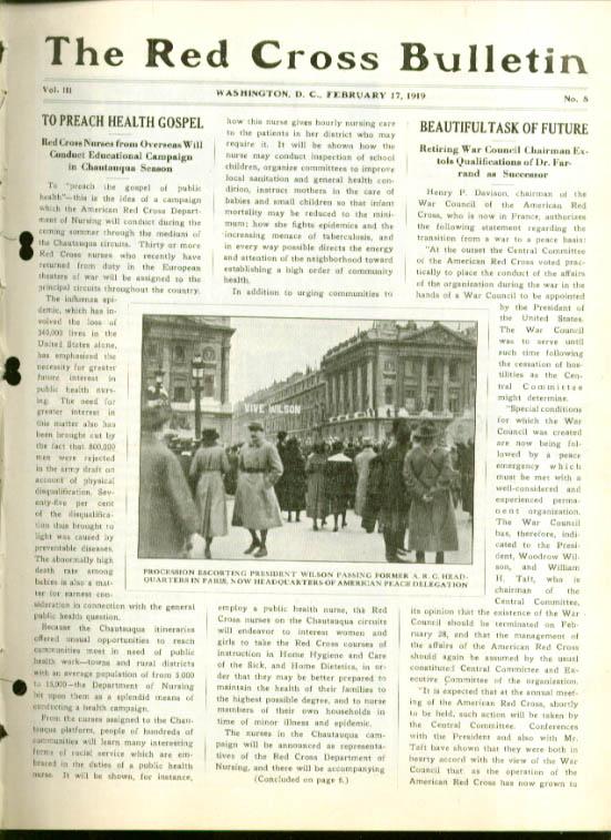 Pres Wilson in Paris RED CROSS BULLETIN 2/17 1919