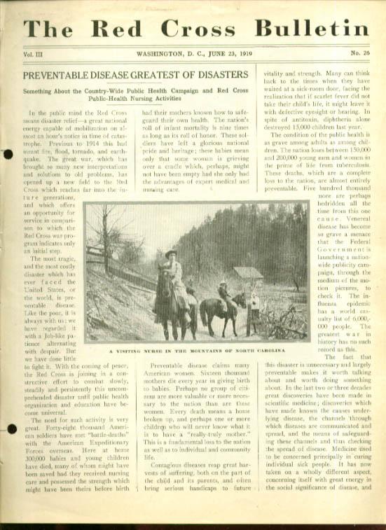 Preventable disease: RED CROSS BULLETIN 6/23 1919