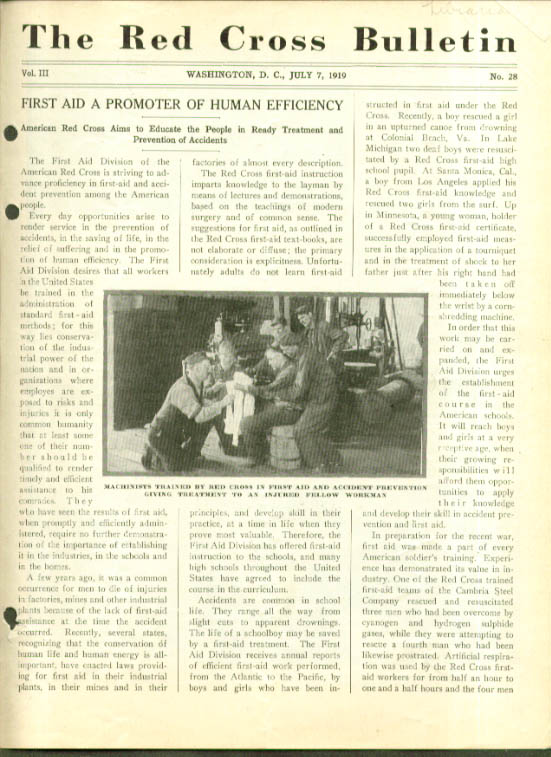 Accident prevention RED CROSS BULLETIN 7/7/ 1919