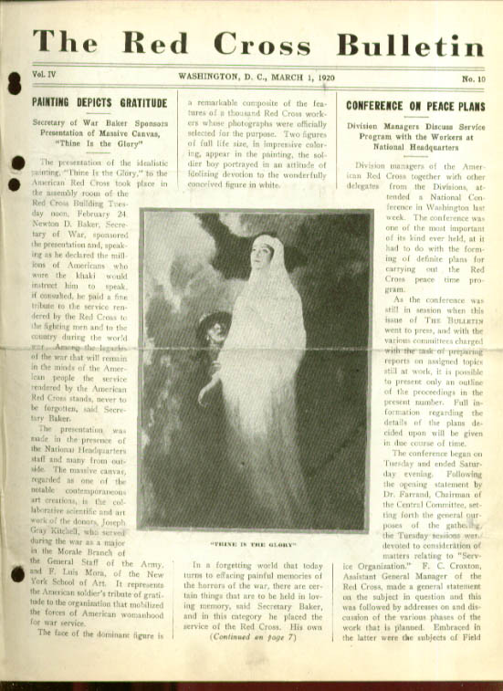 Thine is the Glory Art RED CROSS BULLETIN 3/1 1920