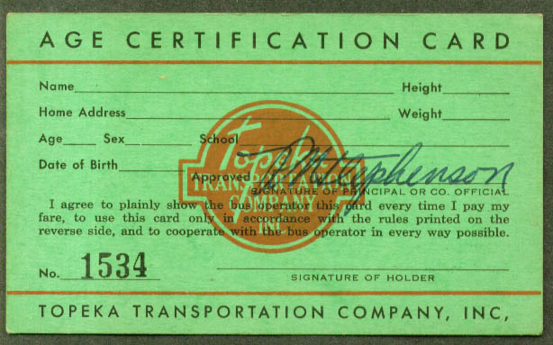 Topeka Transportation Age Certification Bus Pass 1952