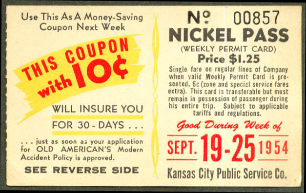 Kansas City Trolley Bus Nickel Pass 1954 Old American
