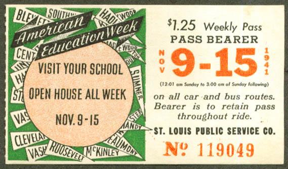 St Louis Public Service Trolley Pass 1941 Open School