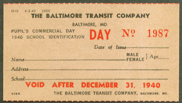 Baltimore Transit Pupil's Day ID card 1940 unused