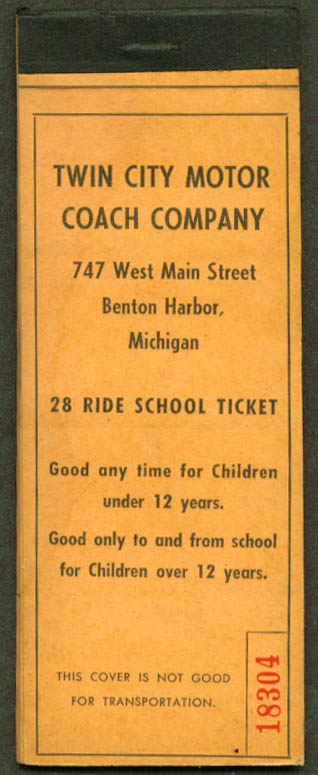 Twin City Motor Coach School Ticket Benton Harbor 50s