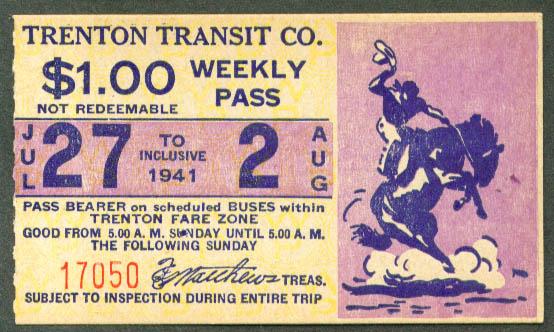 Trenton Transit Weekly Trolley Pass 1941 Broncobuster