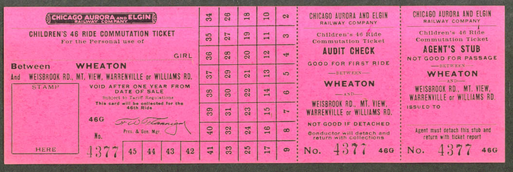 Chicago Aurora & Elgin Ry Girl's 48-ride ticket unused