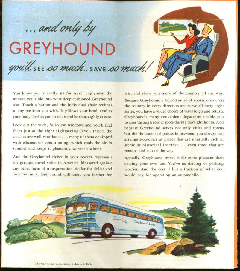 Greyhound Bus To & Thru New England brochure 1940s