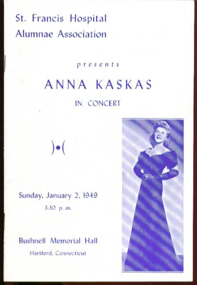 Contralto Anna Kaskas Bushnell Concert Program 1949
