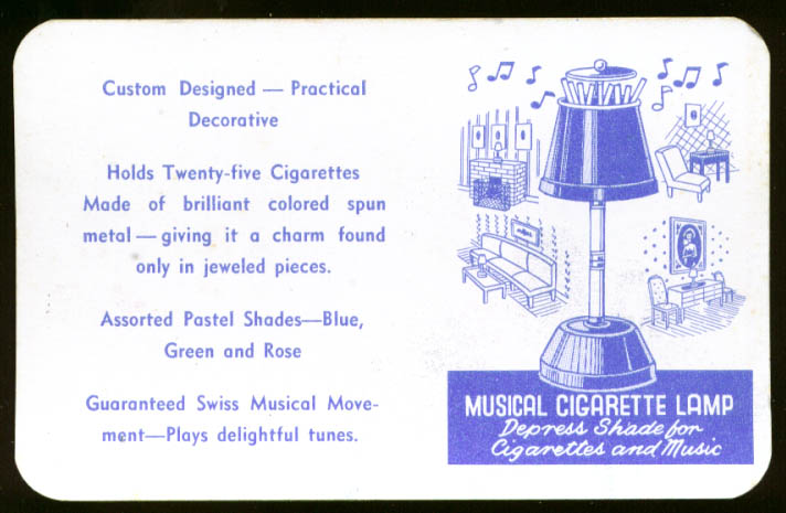 Musical Cigarette Lamp advertising card 1950s