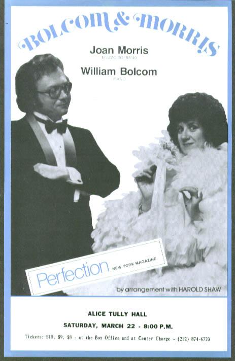 William Bolcom & Joan Morris Piano & Soprano Tully flyer
