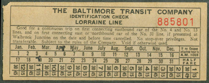 Baltimore Transit Lorraine Line transfer 1950 MD