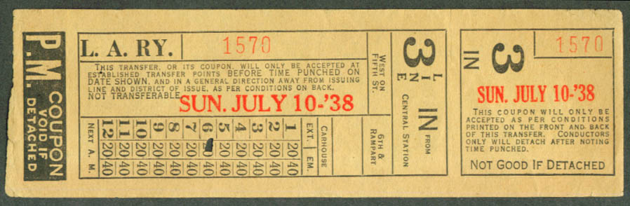 Los Angeles Railway transfer ticket 7/10 1938